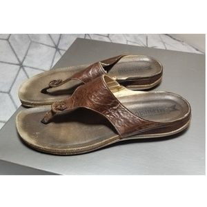 Mephisto Air Relax Brown Leather Slides Sandal 41